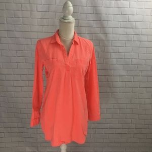 Linen Blend Neon Coral Long Sleeve Tunic
